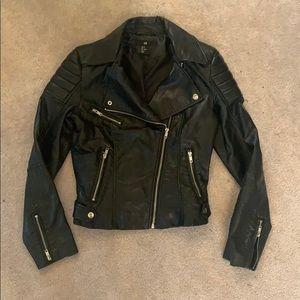 Black Faux Leather Motorcycle Jacket